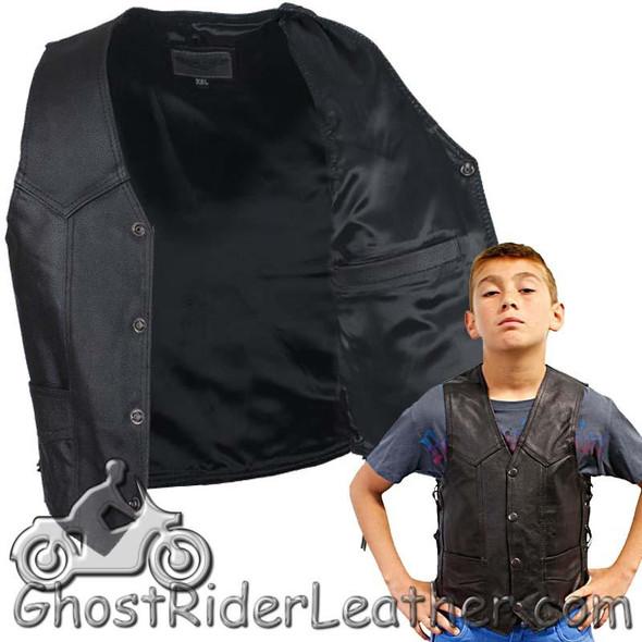 Kids Black Leather Motorcycle Vest with Side Laces - SKU KD392-DL