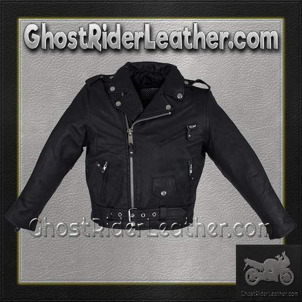Kid's Leather Motorcycle Jacket - Teens Leather Motorcycle Biker Jacket -SKU KD342-TEEN-DL