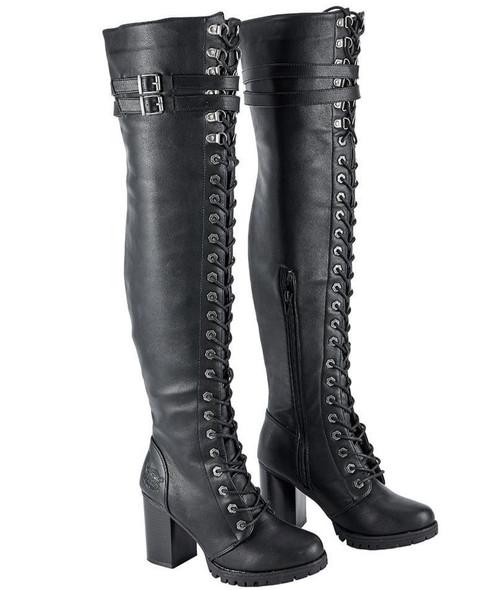 Motorcycle Boots - Women's - Knee High - Chunky Heel and Zipper - MR-BTL7003-DL