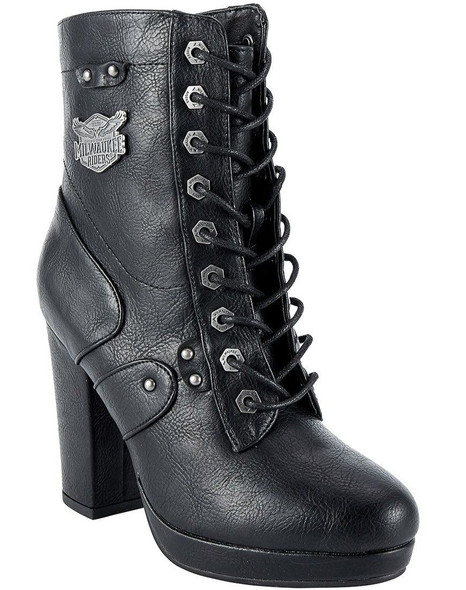 Motorcycle Boots - Women's - Chunky Heel - Inside Zipper - MR-BTL7004-DL