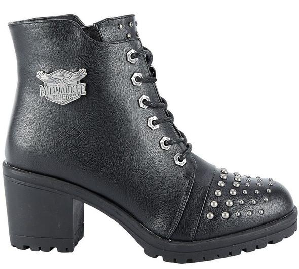 Women's Studded Motorcycle Boots With Chunky Heels - Biker Boots - SKU MR-BTL7002-DL