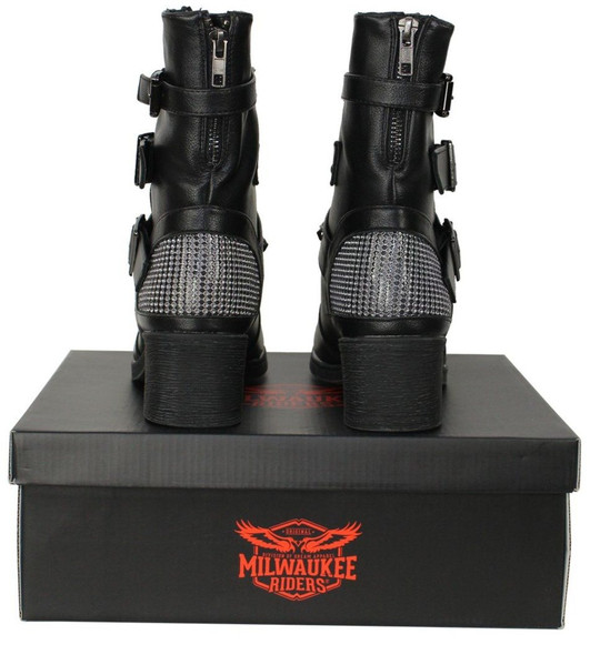 Motorcycle Boots - Women's - Studded - Zippered - Buckled - MR-BTL7001-DL