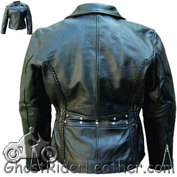 Ladies Biker Leather Jacket With Braid Trim - SKU AL2103-AL