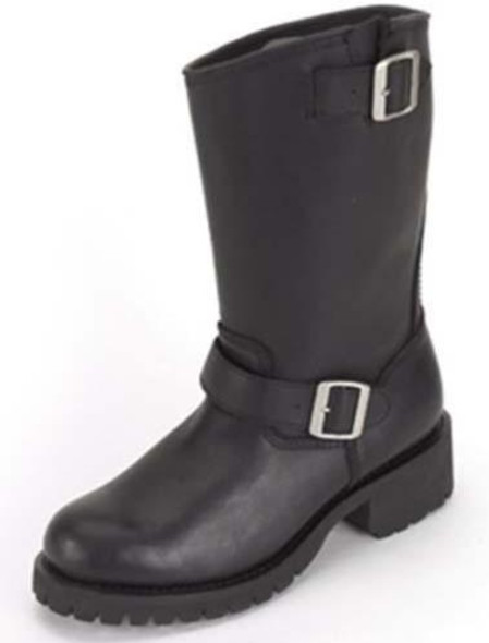 Ladies Biker Leather Motorcycle Boots - Double Buckle - SKU GRL-S11-LADIES-DL