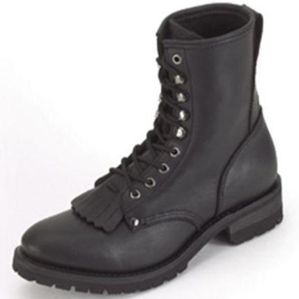 Ladies Biker Leather Motorcycle Boots - Lace Up Front With Tassles - SKU GRL-S14-LADIES-DL