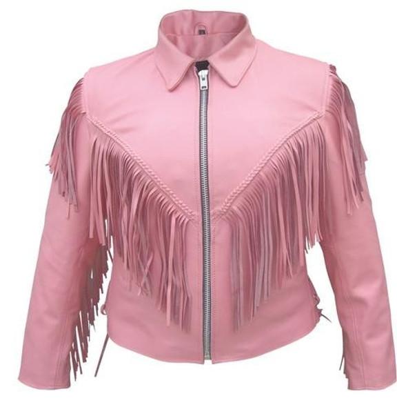 Ladies Biker Pink Leather Jacket with Fringe - SKU AL2121-AL
