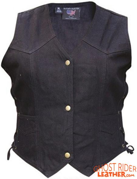 Denim Vest - Women's - Black - Gun Pockets - Side Laces - AL2981-AL