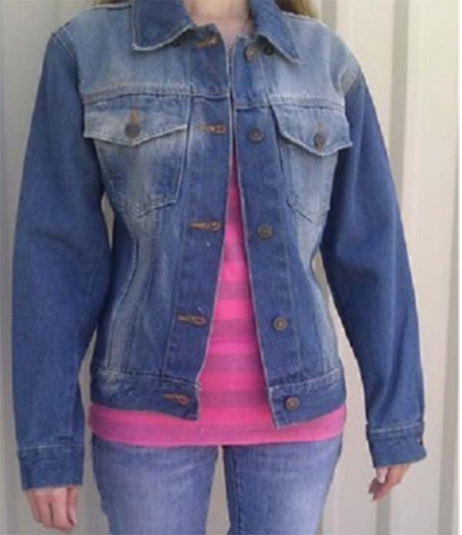 Women's Blue Denim Jacket with Rub Off On Front and Back - AL2990-AL.