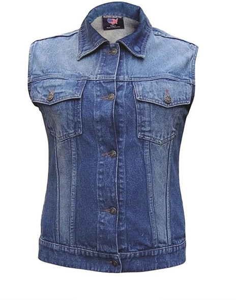 Women's Blue Denim Vest with Rub Off Front and Back - AL2991-AL