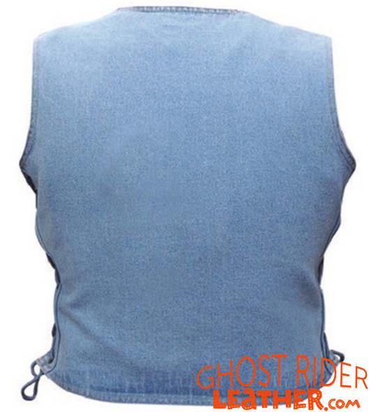 Denim Vest - Women's - Blue - Side Laces - Gun Pockets - AL2980-AL