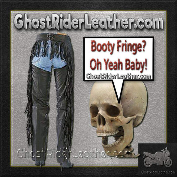 Ladies Booty Fringe Leather Chaps - Women's Leather Chaps - SKU AL2407-AL