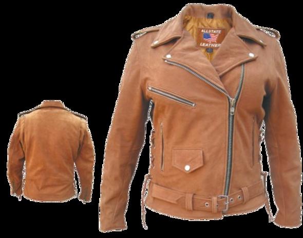 Ladies Classic Biker Brown Leather Jacket - SKU AL2115-AL
