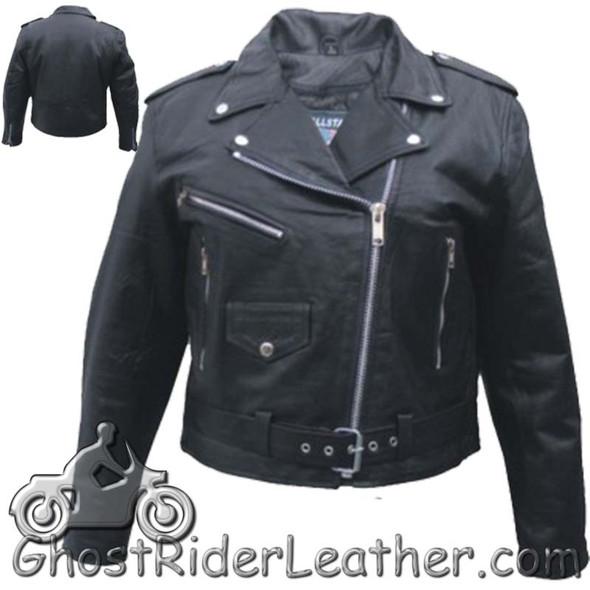 Ladies Classic Biker Leather Jacket - Lightweight - SKU AL2100-LIGHT-AL