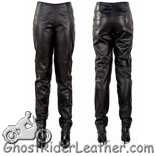 Leather Pants - Women's - Hip Hugger - Straight Legs - C503-DL