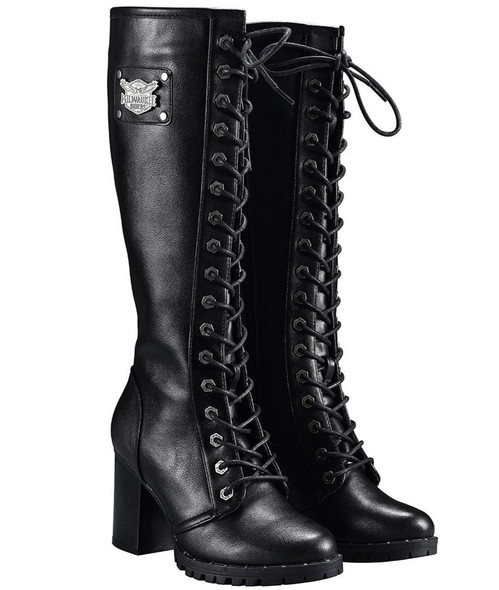 Motorcycle Boots - Women's - Knee High - Chunky Heel and Zipper - MR-BTL7006-DL