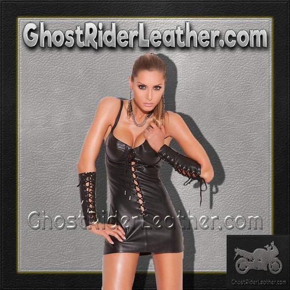 Lace Up Leather Mini Dress -  Women's - L8103-EML