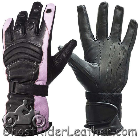Ladies Leather Gauntlet Gloves in Pink and Black With Padded Knuckles - SKU GLZ60-PINK-DL