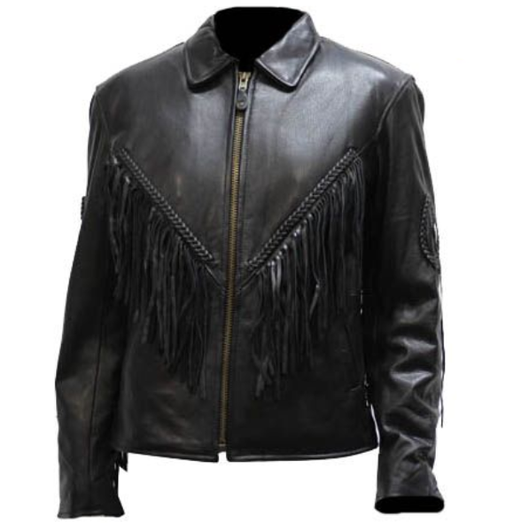Women's Leather Motorcycle Jacket with Braid and Fringe Design - SKU LJ280-DL