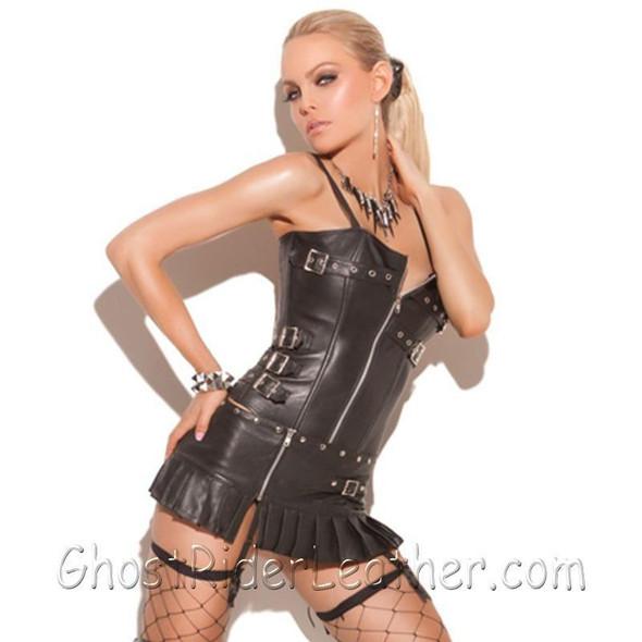 Ladies Leather Pleated Zip Front Mini Skirt - SKU GRL-L6150-EML