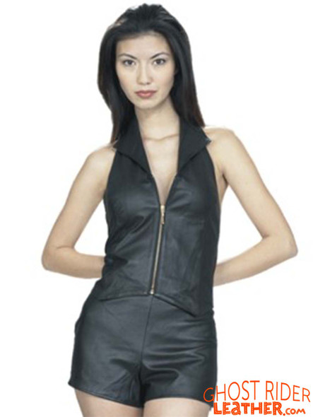 Leather Shorts -Women's - Option Of Leather Zipper Top - SK955-SK962-DL