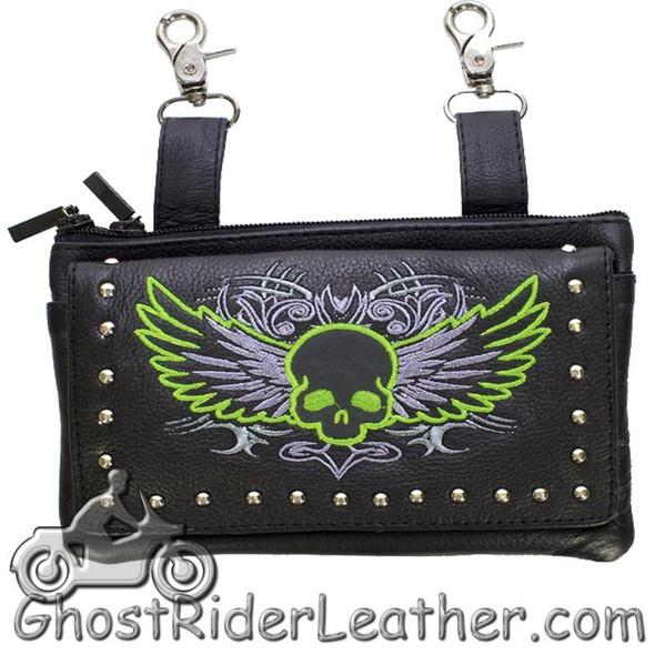 Leather Belt Bag - Lime Green Flying Skull Design - Handbag - BAG35-EBL10-LIME-DL