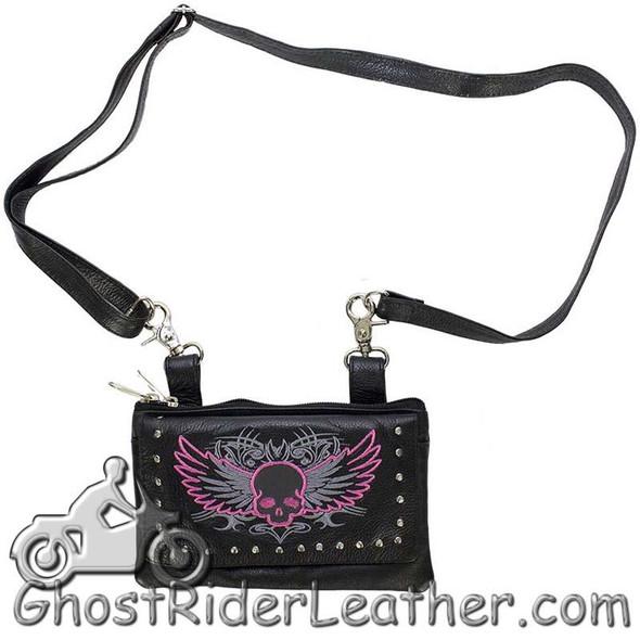 Leather Belt Bag - Pink Flying Skull Design - Handbag - BAG35-EBL10-PINK-DL