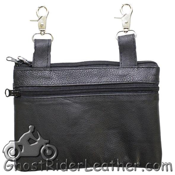 Ladies Naked Leather Belt Bag with Pink Sugar Skull Design - Handbag - SKU GRL-BAG35-EBL19-PINK-DL