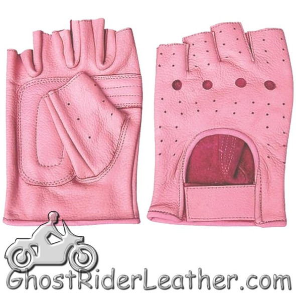 Leather Gloves - Women's - Pink - Fingerless - Perforated - AL3012-AL