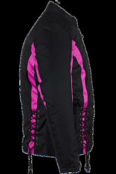 Ladies Textile Racing Jacket In Black and Pink - SKU LJ266-CCN-PINK-DL