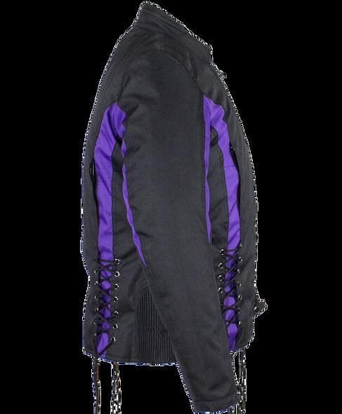 Ladies Textile Racing Jacket In Black and Purple - SKU LJ266-CCN-PURP-DL
