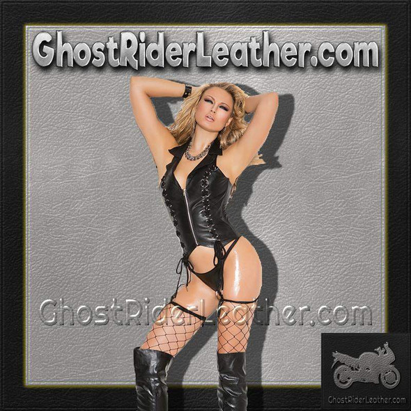 Ladies Zip Front Leather Corset With Lace Up Detail / SKU GRL-L3139-EML