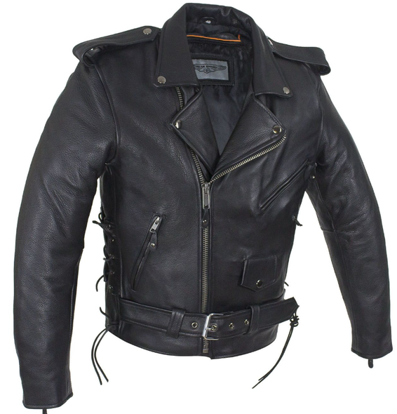 Leather Motorcycle Police Style Jacket with Side Laces and Vents - Up To Size 72 - SKU MJ201-SS-DL