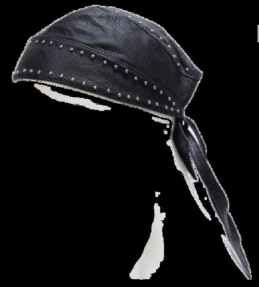 Leather Skull Cap with Studs - Biker Durag - SKU AC007-13-DL