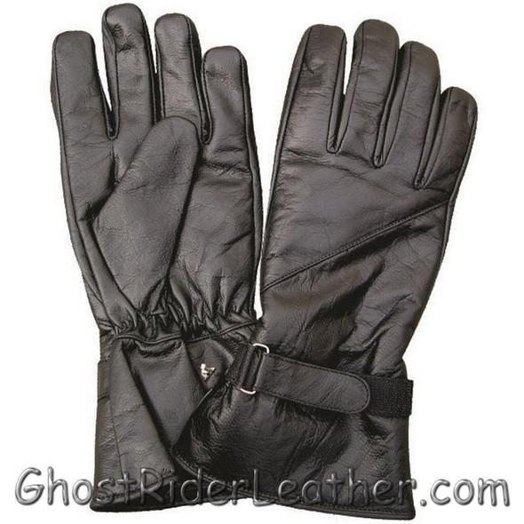 Leather Gloves - Men's - Motorcycle Riding - Gauntlet Style - AL3062-AL