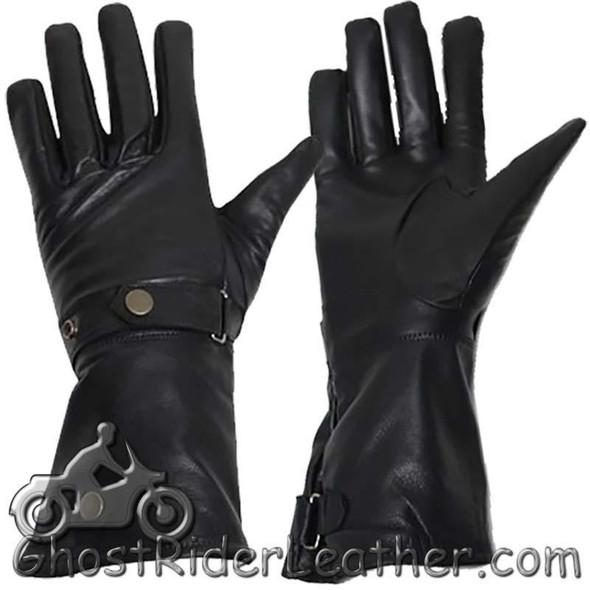 Leather Gloves - Men's - Summer Gauntlets - Motorcycle - GL2064-DL
