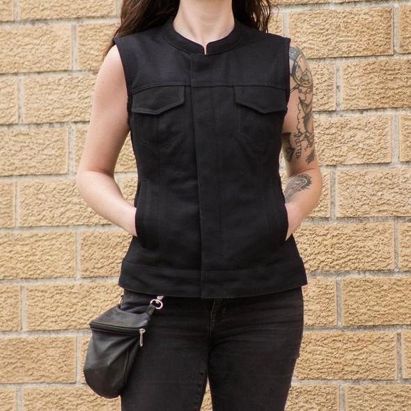 Women's Canvas Vest - Concealed Carry - Club Style - Ludlow - FIL516CNVS-FM