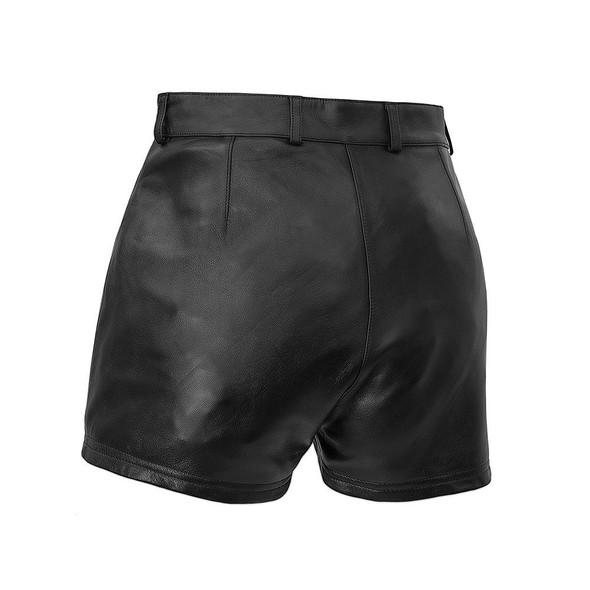 Leather Shorts - Women's - Lambskin - Maleni - Biker Chick - FSL719SNA-FM