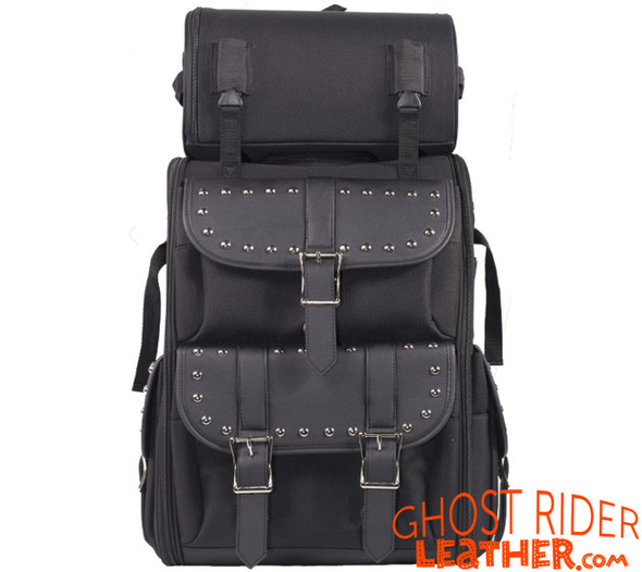 Sissy Bar Bag - Studs - Medium - PVC and Textile - Motorcycle Gear - SB11-MED-STUD-DL