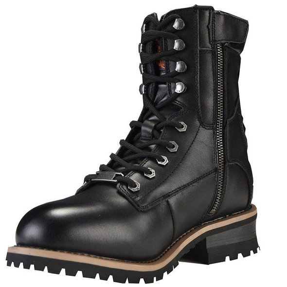 Leather Motorcycle Boots - Men's - Zipper and Lace-Up - MR-BTM8002-DL