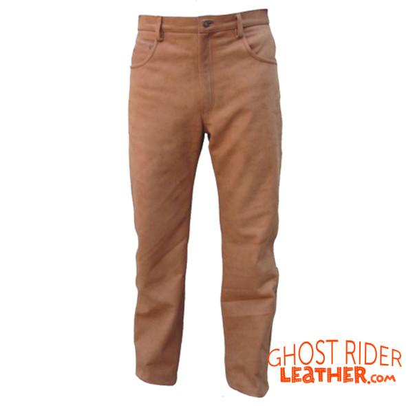 Leather Pants - Men's - Brown Buffalo - Motorcycle - AL2505-AL