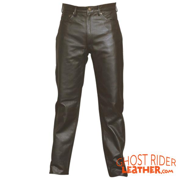 Leather Pants - Men's - Five Pocket Style - Motorcycle - AL2500-AL
