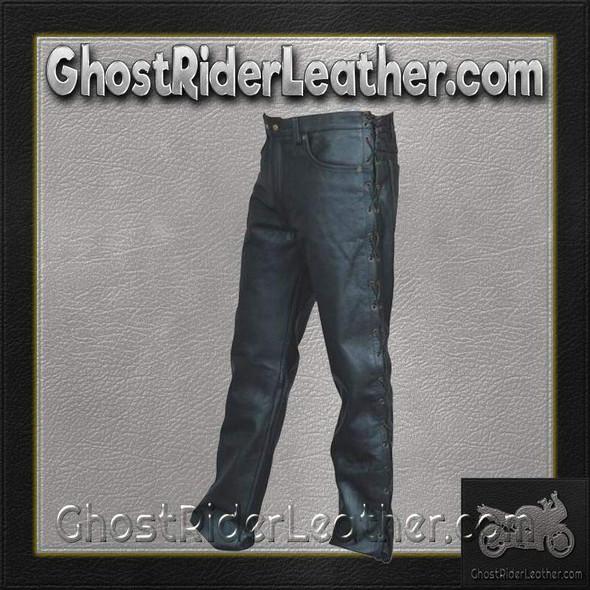 Men's 5 Pocket Leather Pants with Side Laces - AL2502-AL