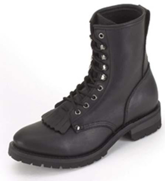 Motorcycle Boots - Men's - Lace Up Front With Tassles  - Wide Width - S14-EEE-DL