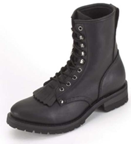 Leather Motorcycle Boots - Men's - Average Width - Lace Up Front - Tassles - S14-REG-DL