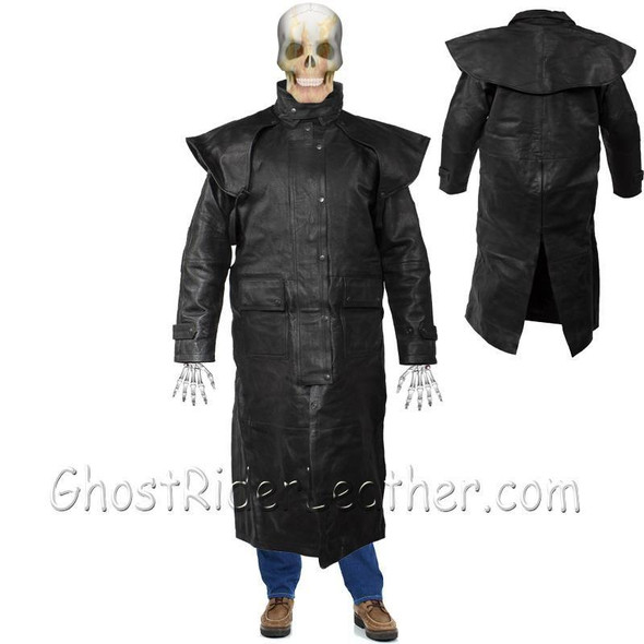 Mens Black Premium Cowhide Leather Duster Coat - SKU GRL-MJ600-11-DL