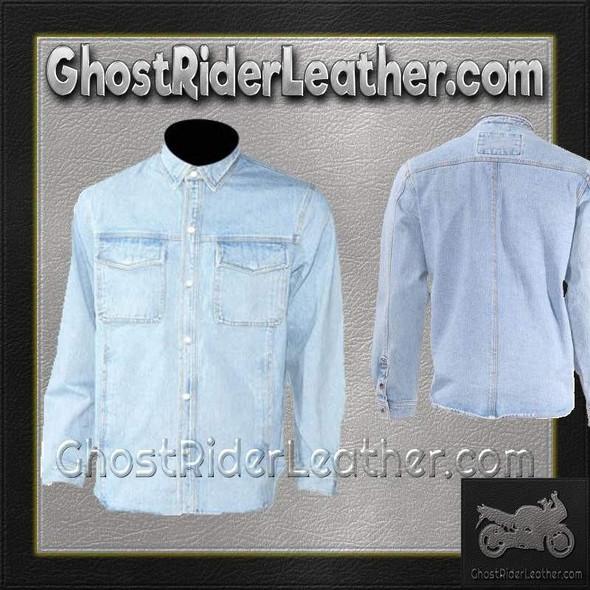 Mens Blue Denim Shirt with Snap Pockets - SKU GRL-MJ777-DENIM-DL