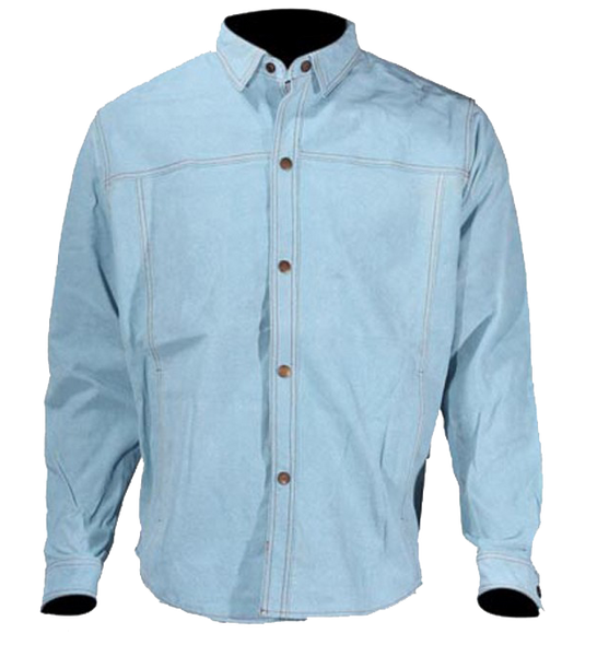 Men's Blue Leather Shirt with Snap Closure - Clearance - Up To Size 5XL - MJ777-15-DL