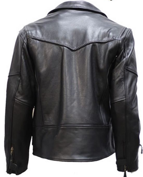 Mens Braided Pistol Pete Premium Leather Motorcycle Jacket - SKU MJ708-DL