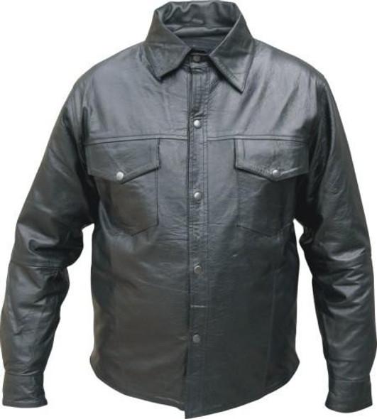 Men's Buffalo Leather Shirt with Snap Closure - AL2670-AL