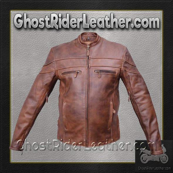 Mens Cafe Brown Touring Motorcycle Leather Jacket / SKU GRL-AL2077-AL